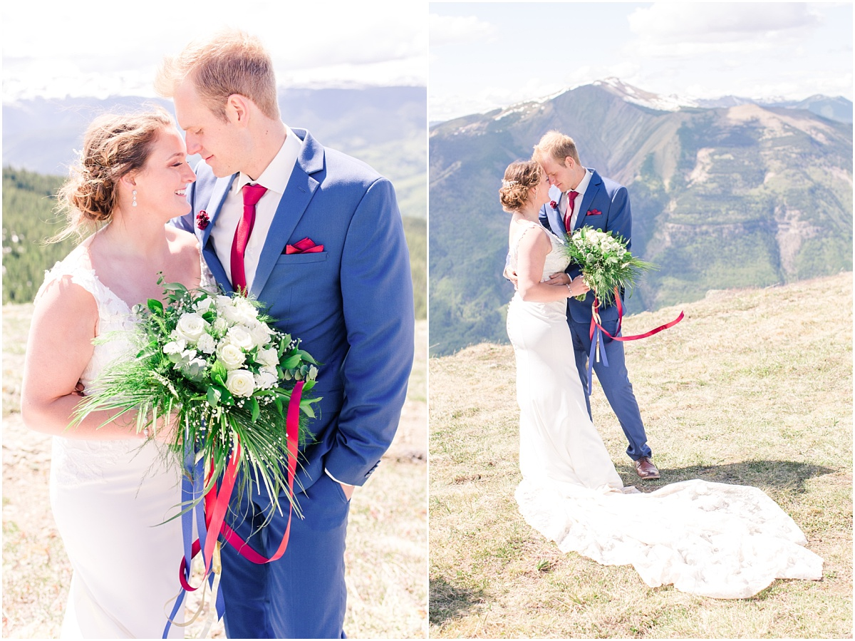 bride and groom photos in grande cache mountain small light and airy photography style wedding here in alberta
