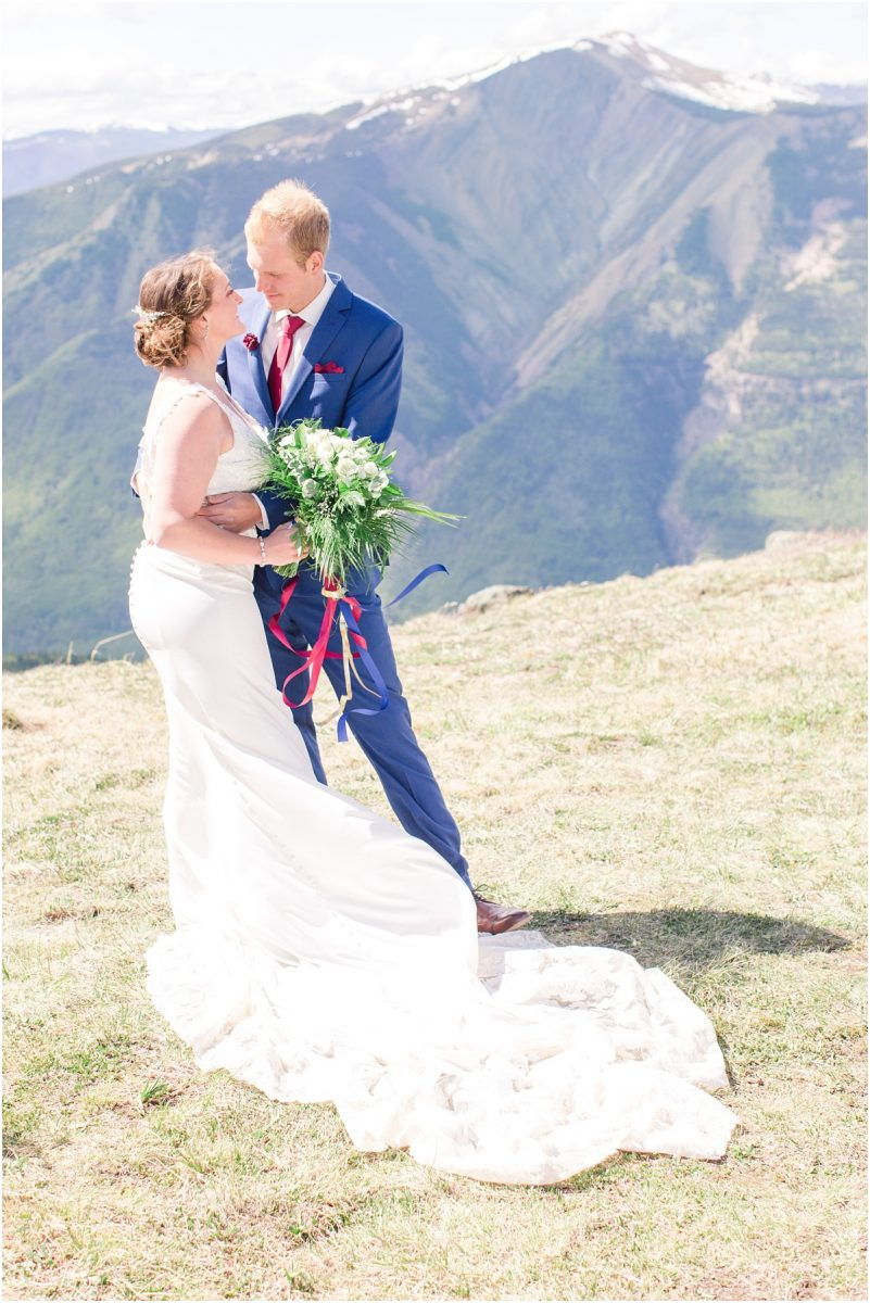 alberta mountain wedding photos in grande cache jasper and banff light and airy stle for their bride and groom portraits wedding elopement