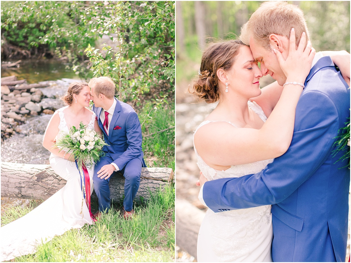 creek wedding photos with water light and airy style in grande prairie