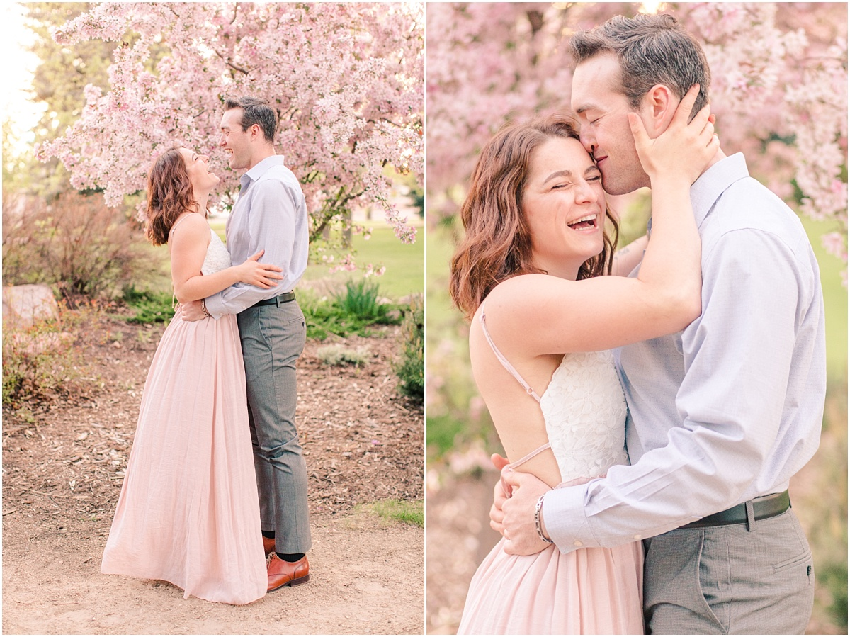 light and airy wedding and engagement photos with cassie and patrick with all the blossoms at julibee park