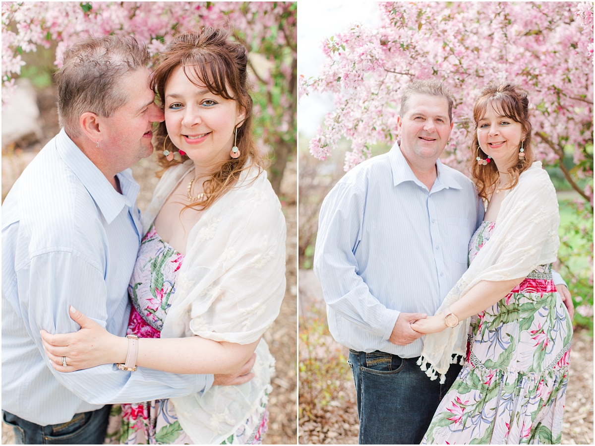 mom and mark for their 9 year anniversary photos in grande prairie albtera with blossoms and light airy style mom and dad