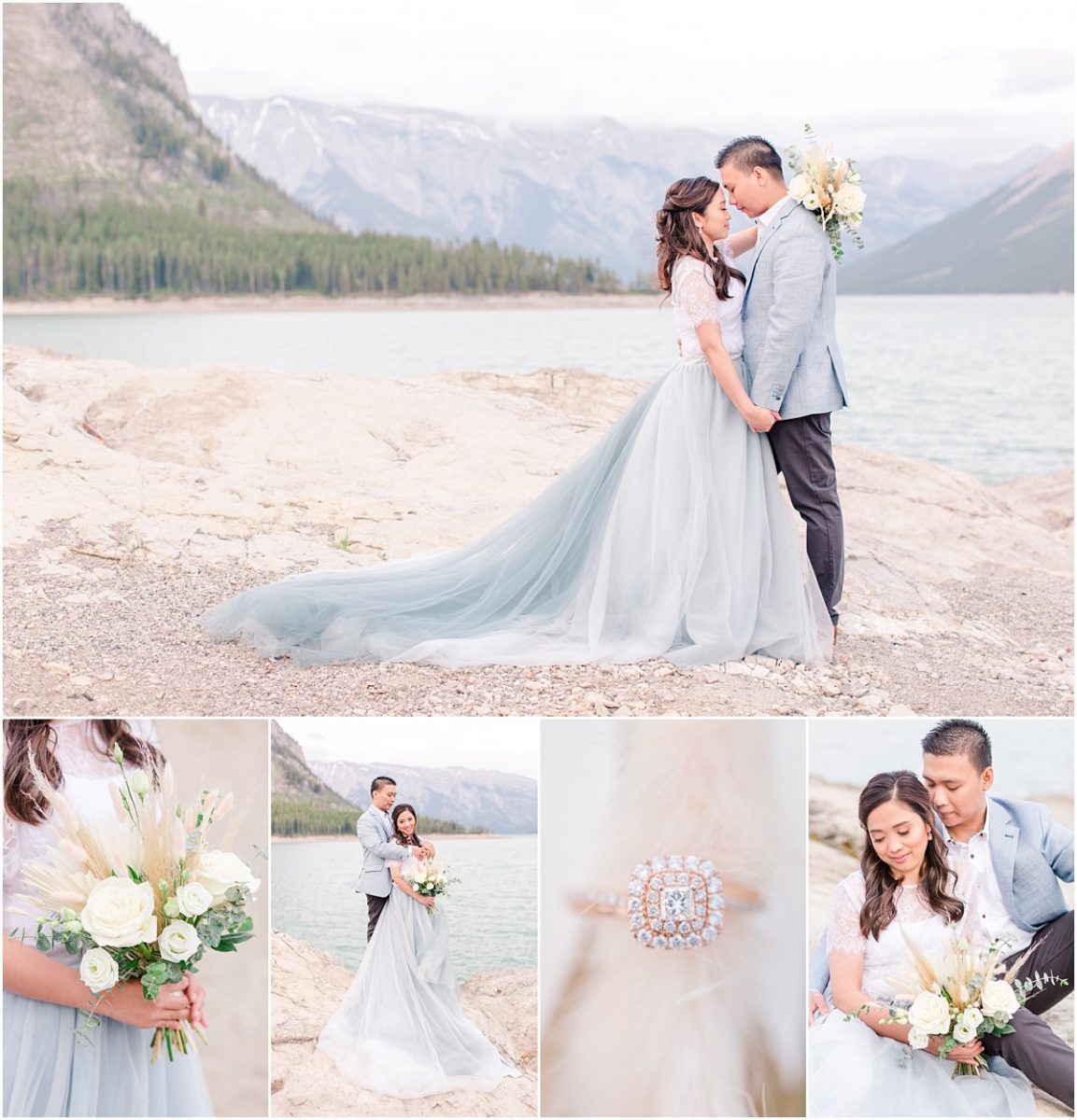 photos with jim and jerrica in banff jasper national park in canada with their wedding and engagement photographer lots of light creams and dusty blue colors at lake minnewanka