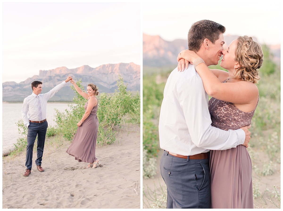 engagement photos in jasper mountains with chelsea and tayler with wedding photographer with light and airy style