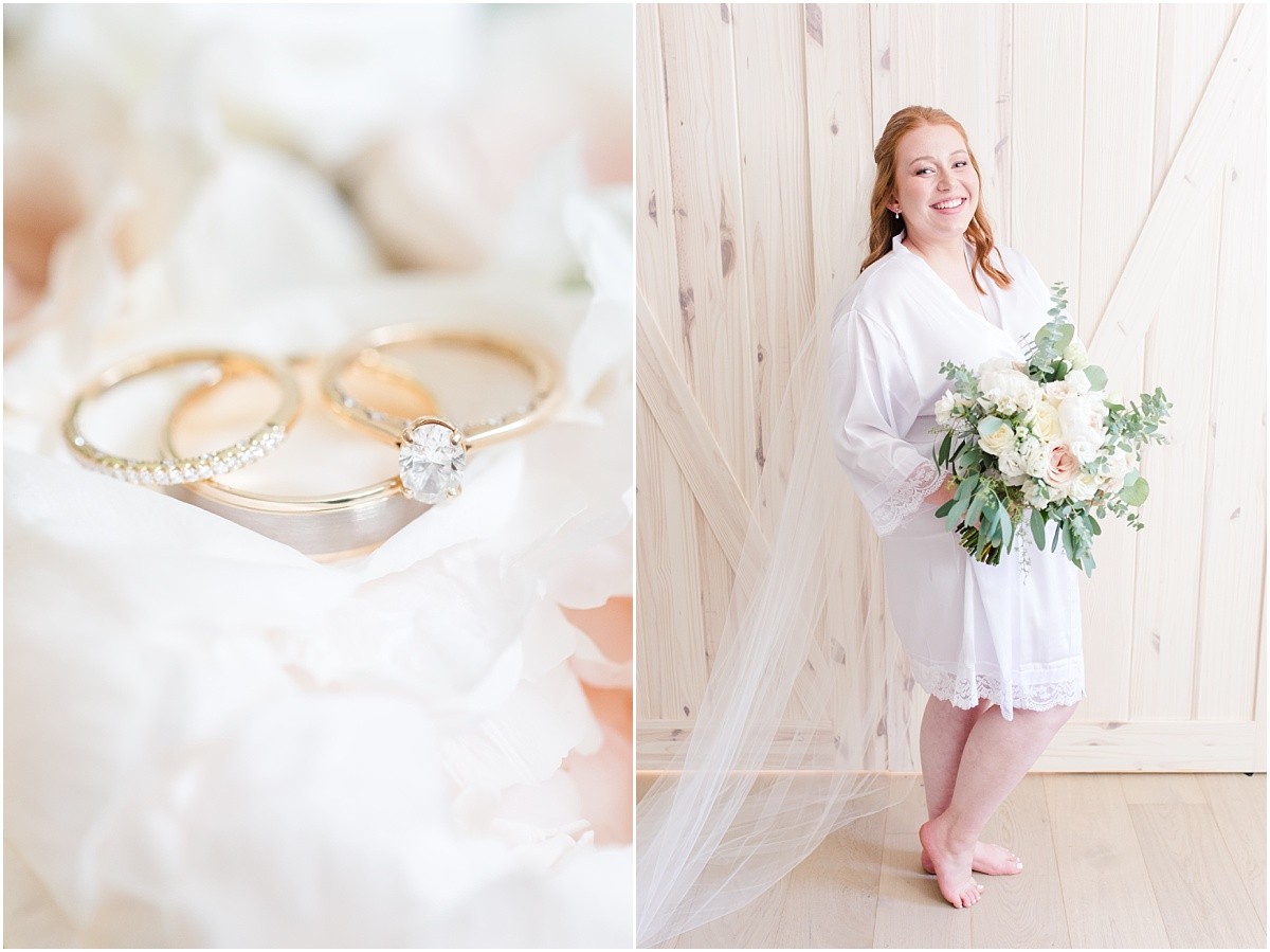 light and airy getting ready photos with elegant joyful wedding photographer rings bride wearing robe holding bouquet by grower direct grande prairie