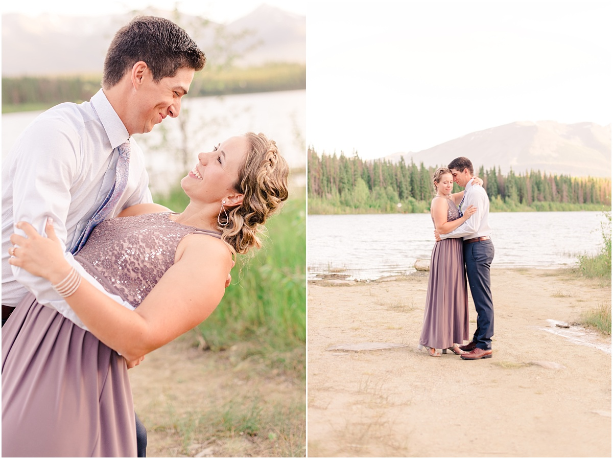 beautiful mountain engagement wedding photos in jasper with light sand and mountains in the background with lake location
