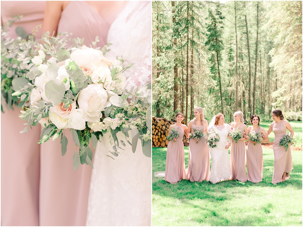 bridemaids walking towards wedding photographer holding bouquets from grower direct in grande prairie blush taupe and white colors very simple and elegant