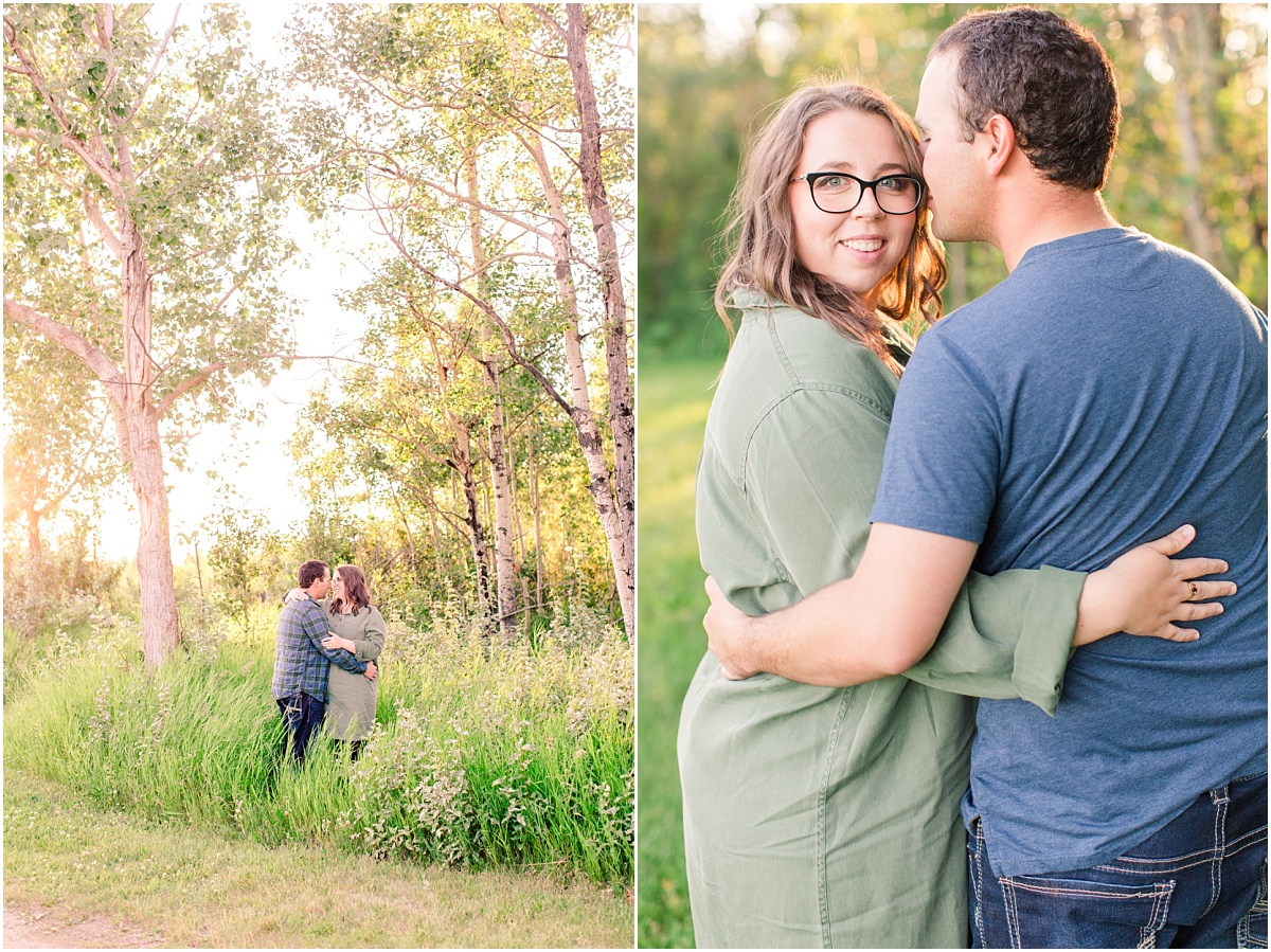 saskatoon lake engagement photos bright light and airsy happy fun couple wearing blue and green casual in the tall grass