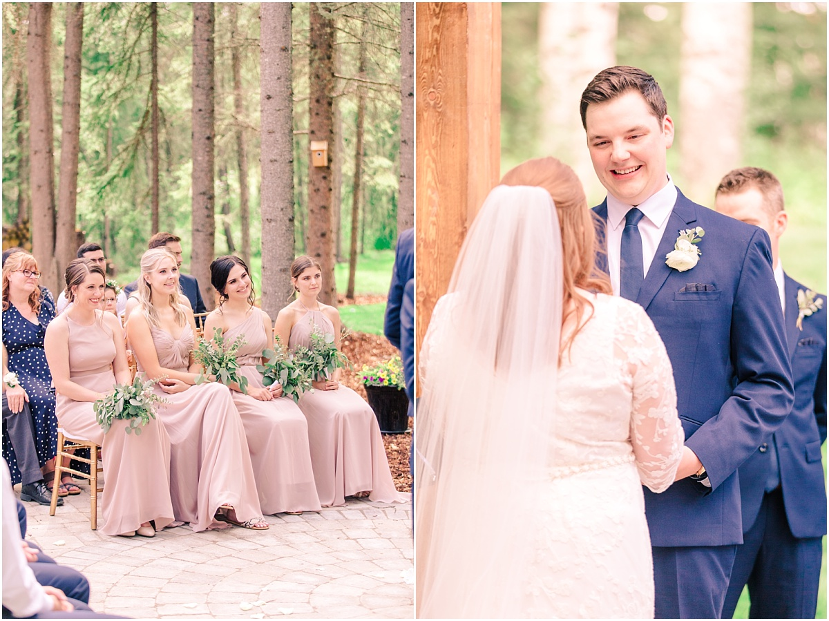 backyard wedding ceremony very joyful and emotional wedding in grande prairie alberta close up of groom reaction