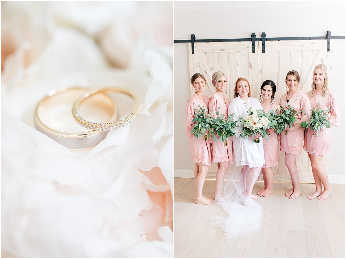 grande prairie kj style wedding photos of wedidng rings and bridesmaids in their robes