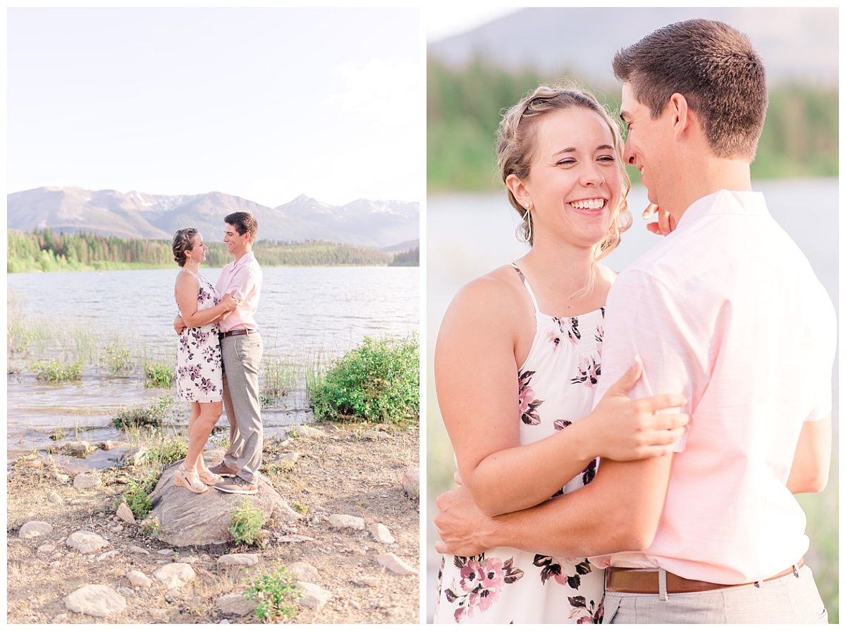 floral dress engagement photos in alberta with rocks and lake in the background very happy and candid