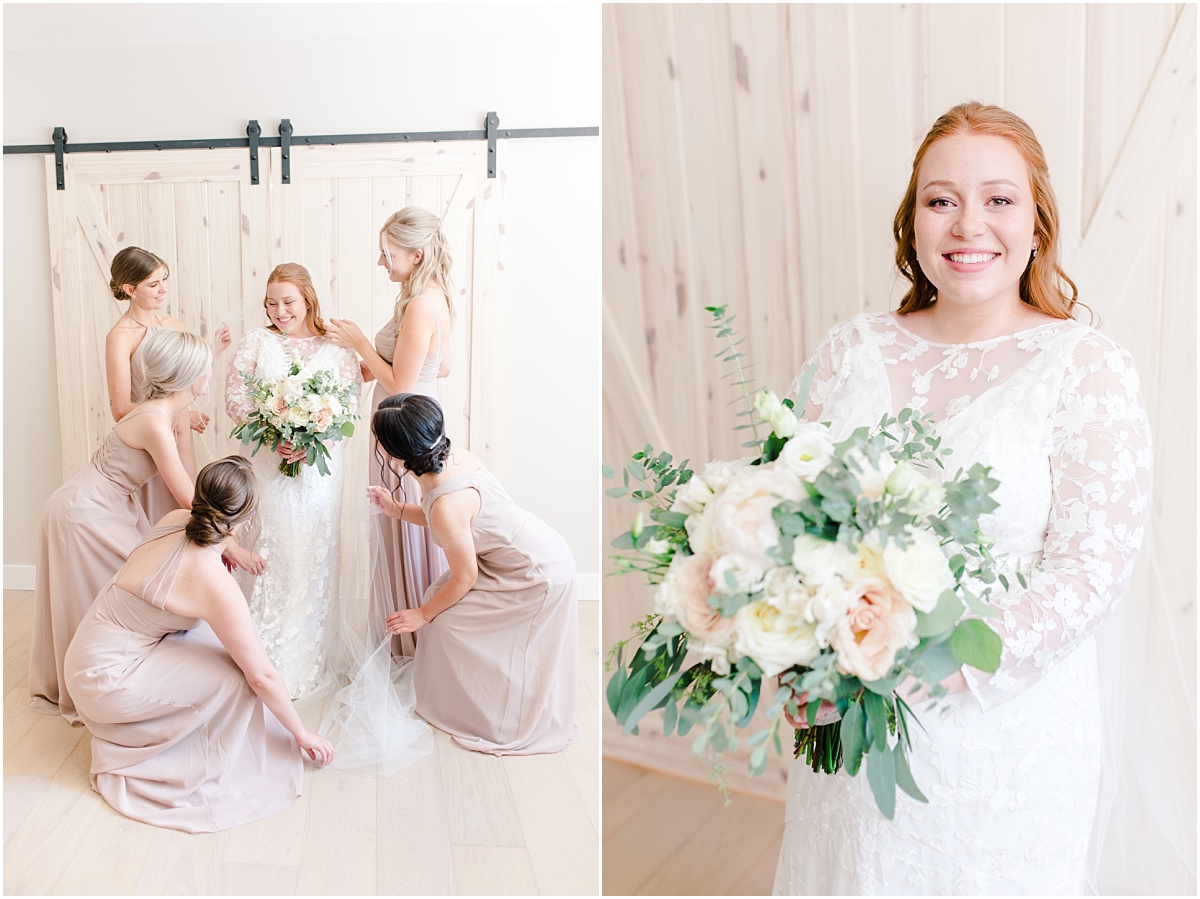 bridesmaids getting ready with kailey kj style photos in canada alberta grande prairie photographer against light wood