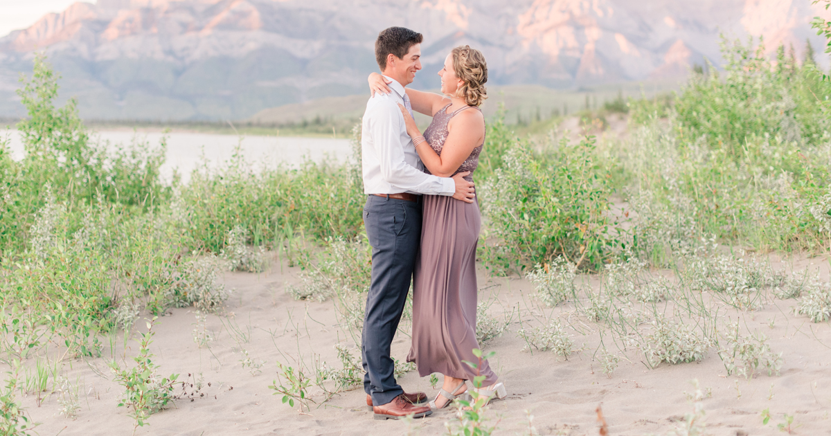 engagement photos in jasper alberta wiht chelsea and tayler with formal wear