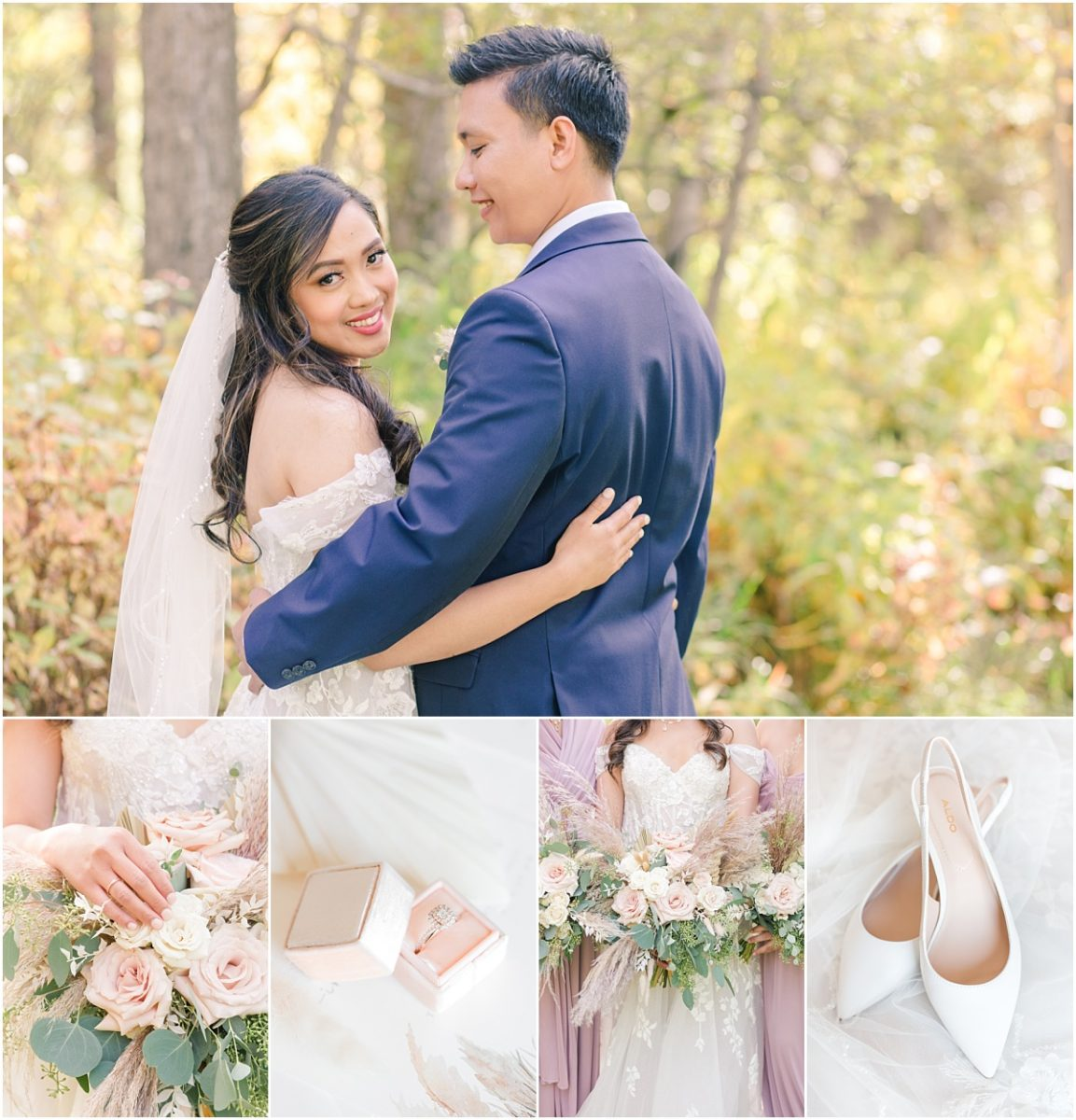 kim and jerrica wedding for the small wedding elopement at wedding venue in grande prairie with pretty fall colors