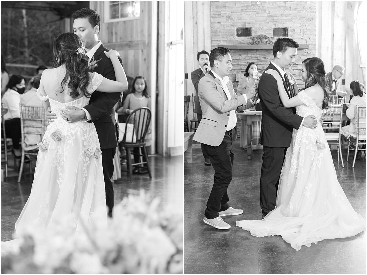couple dancing for their traditional money dance philipino wearing wedding dress at the millwood country inn