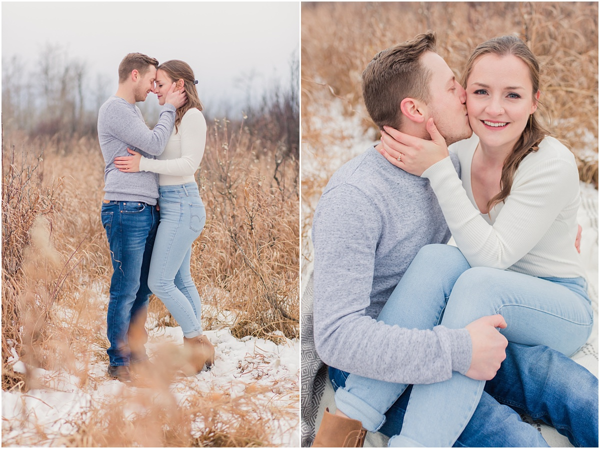 cute adorable engagement photos at saskatoon island in grande prairie and area with the wedding photographer very romantic fall winter vives