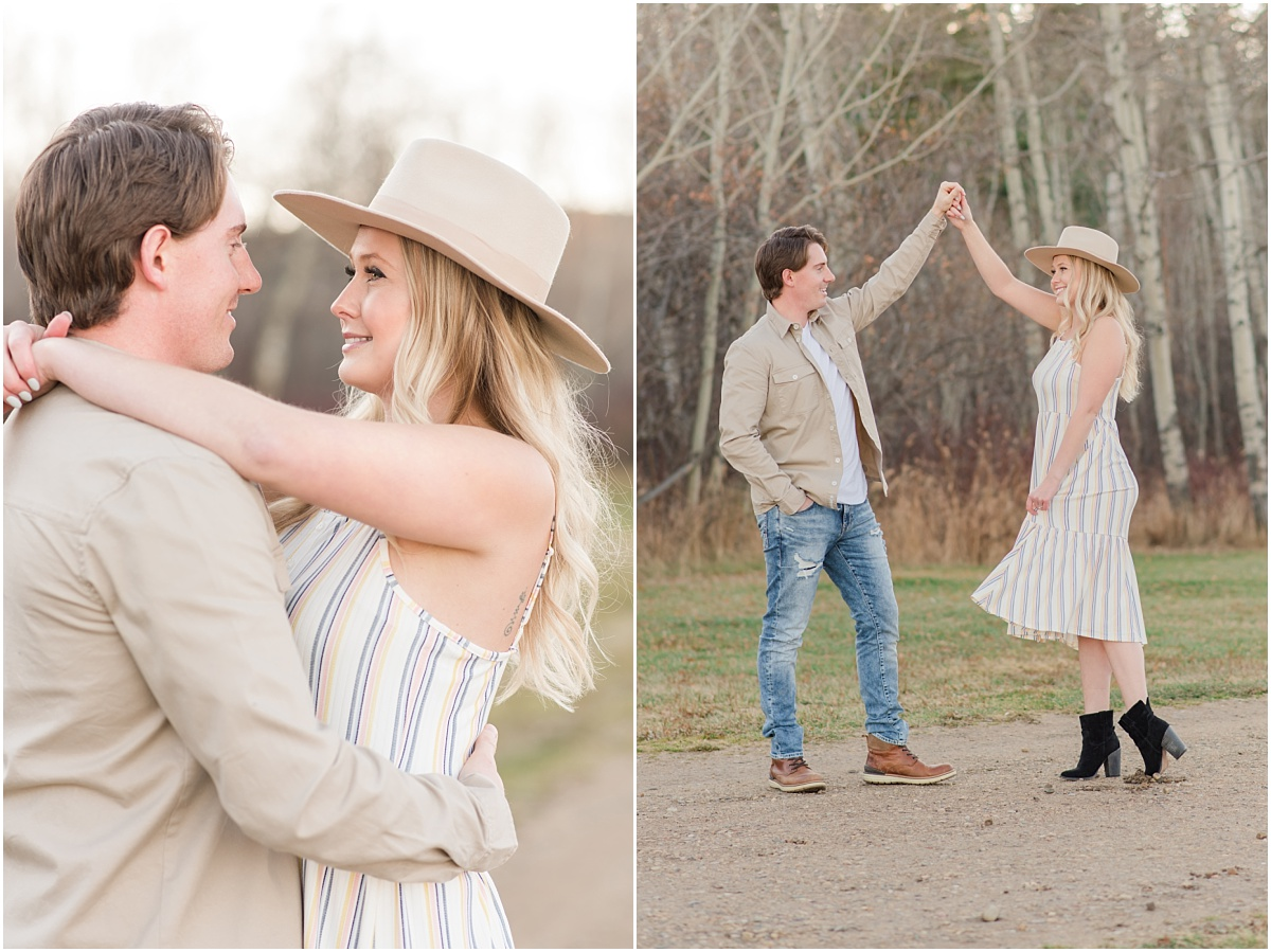 zach twirling laura for their engagement photos in grande prairie