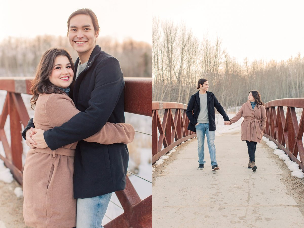 couple walking on the muskoseepi bridge in grande prairie for their couple photos burtned red bridge in grande prairie