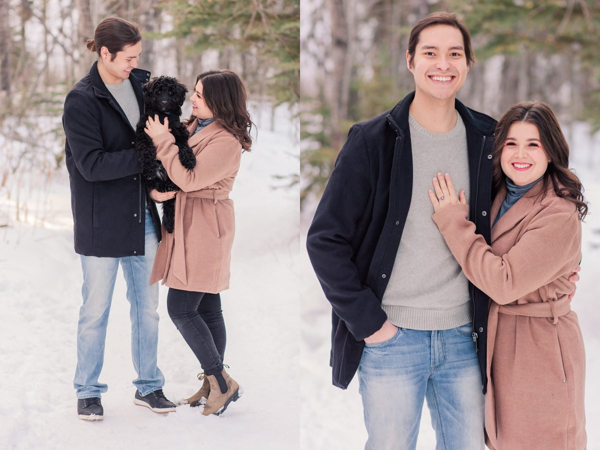 engagement photos in grande prairie with emma and darrion and meeko black dog in the spruce trees