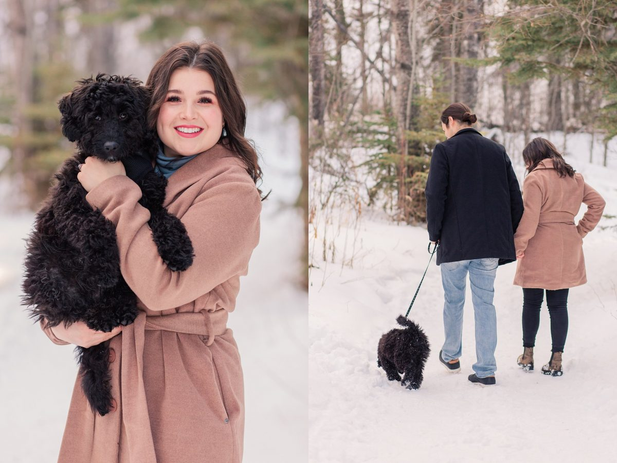 engagement photos with black small dog in the south bear creek in grande prairie walking along the path