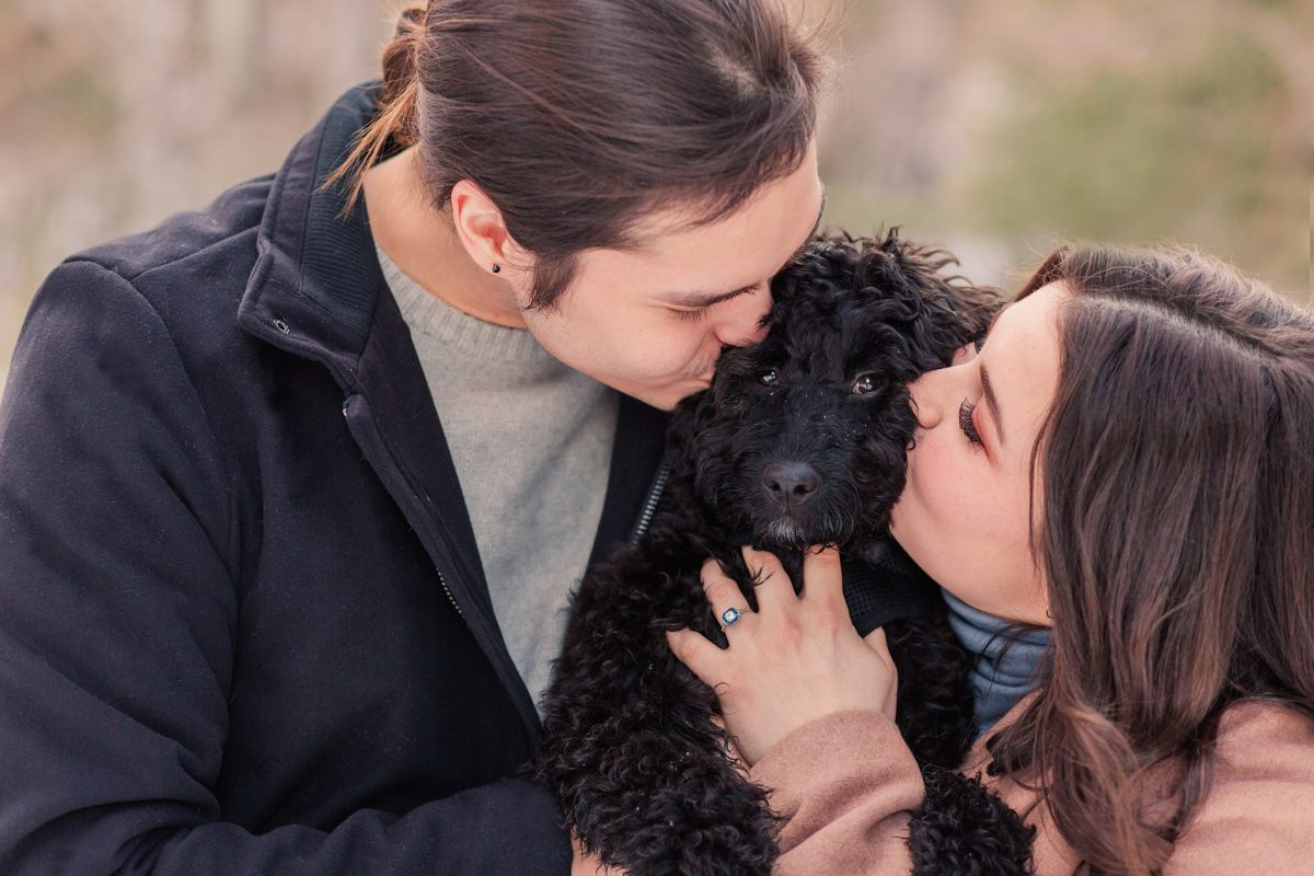 bride and groom kissing dog during engagement session black dog close up photo with emma and darrion