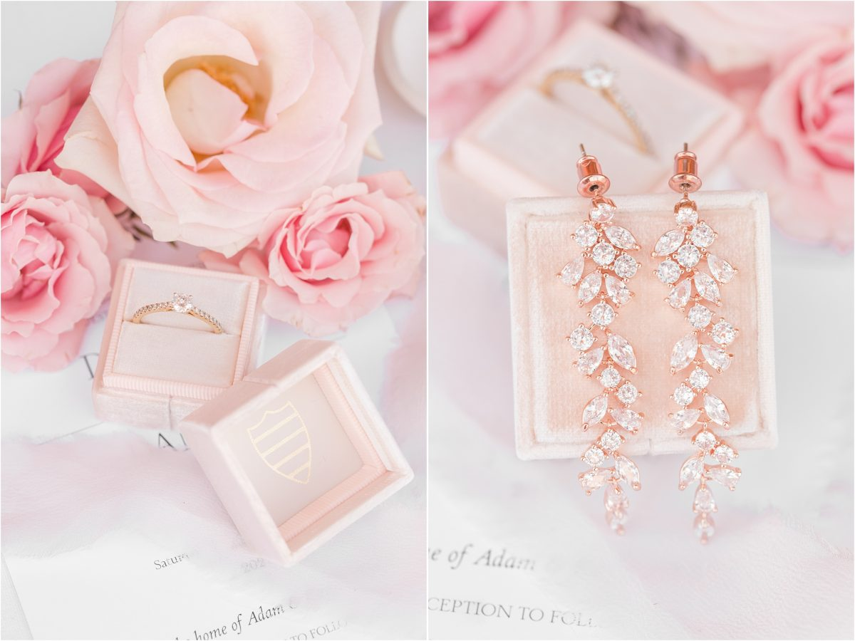 bridal details blush colors and florals by little petal co with fine art light airy grande prairie alberta wedding photographer