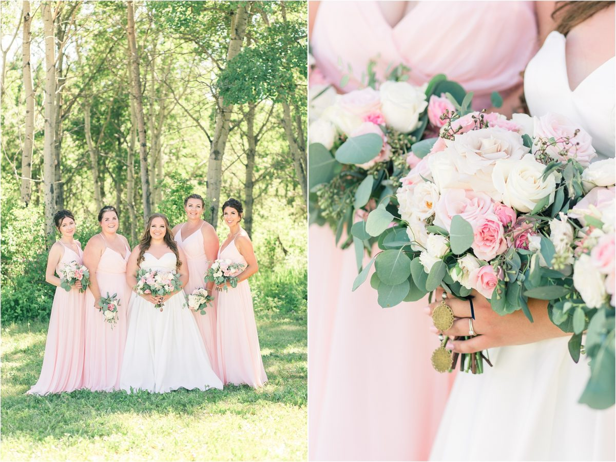 bridesmaids blush wedding dresses bouquet photos by little petal co in the summer wedding glowy light with light and airy photographer wide shot