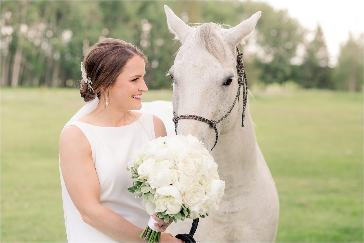 bride with white horse smelling flowers.