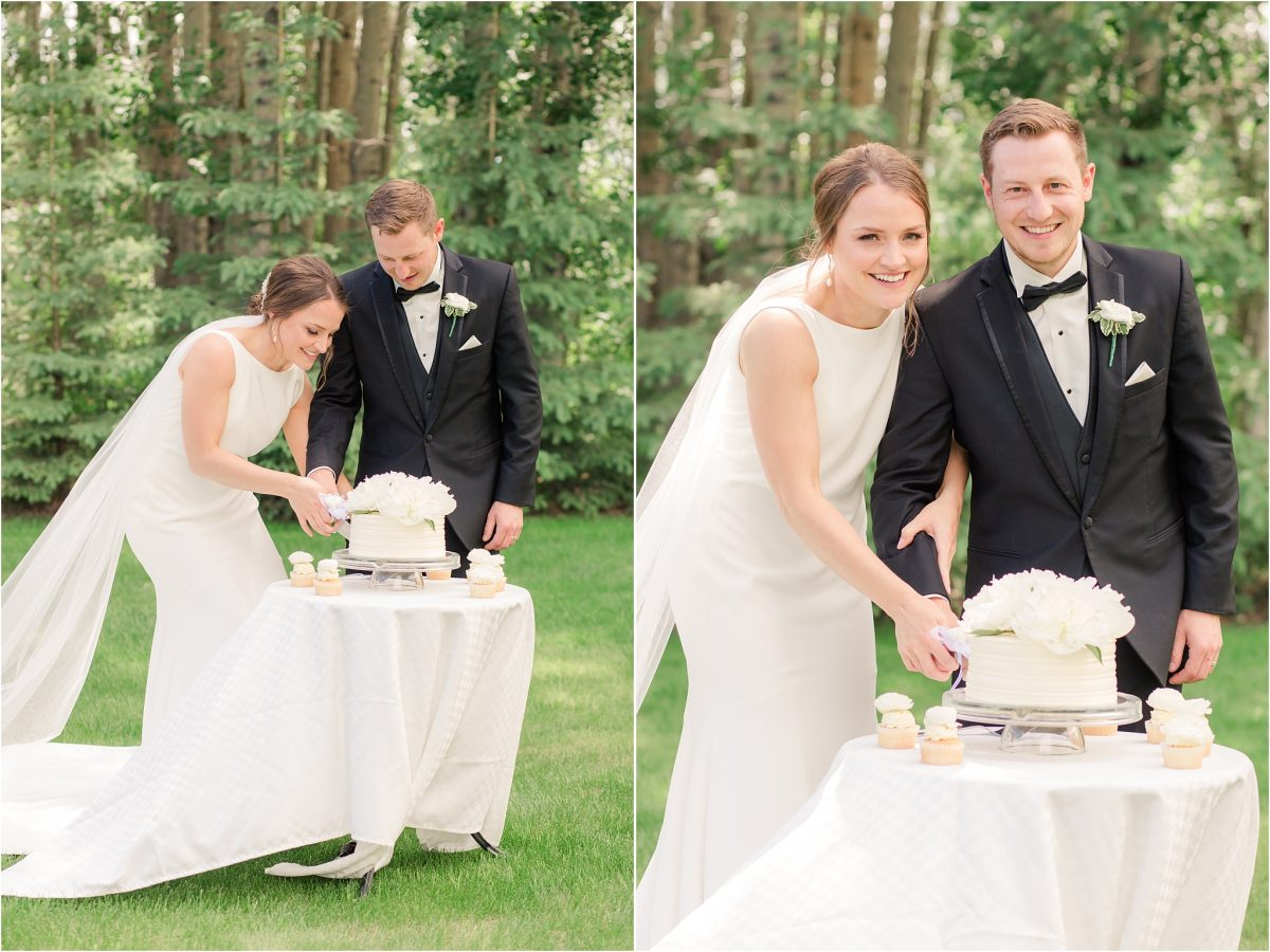 cake cut at the serenity acres wedding venue with brodie and shailene white cake happy couple in grande prairie with photographer