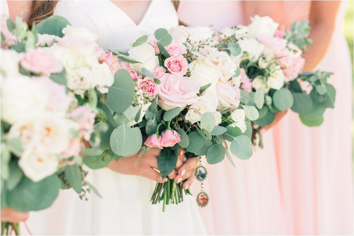 wedding blush bouquets made by little petal co in spirit river wedding
