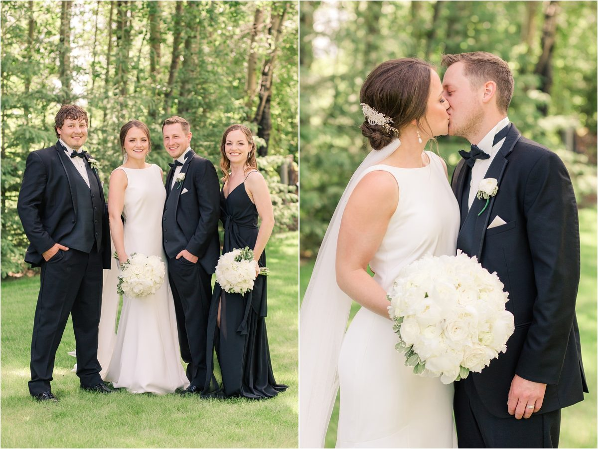 bridal party photos in black dress and tux very classic elegant and simple