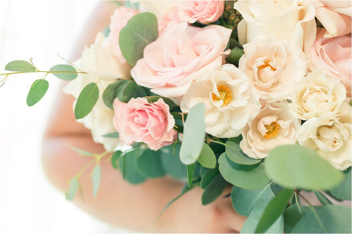 close up photo of bouquet blush wedding flowers by little petal co in spirit river