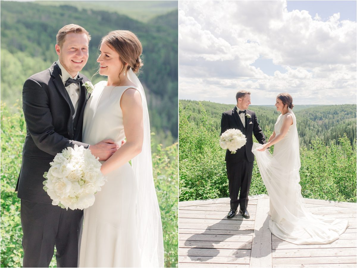 serenity acres grande prairie wedding venue lookout view with bride and groom photos with shailene and brodie white modern dress and long veil on a sunny warm day