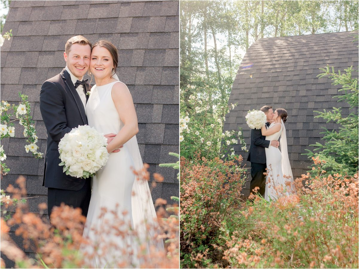 wedding venue outdoor at serenity acres for bride and groom photos building and flowers and natural trees in their photos wide shot and looking at the camera