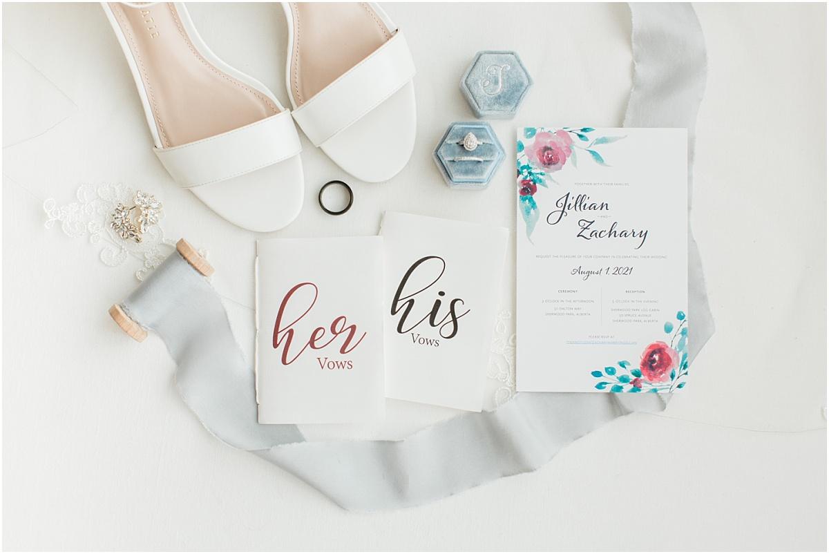 beautiful bridal details vow books for jillian and zacks wedding day dusty blue ribbon ring box in edmonton sheerwood park