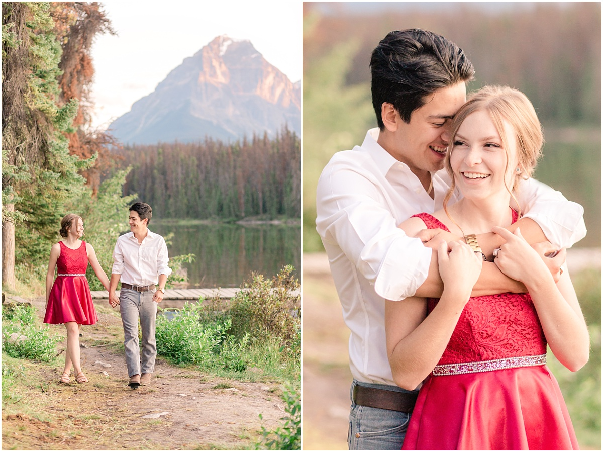 couple engagement photos at leech lake in jasper bride is wearing red dress for wedding photos happy couple with camden and cassandra