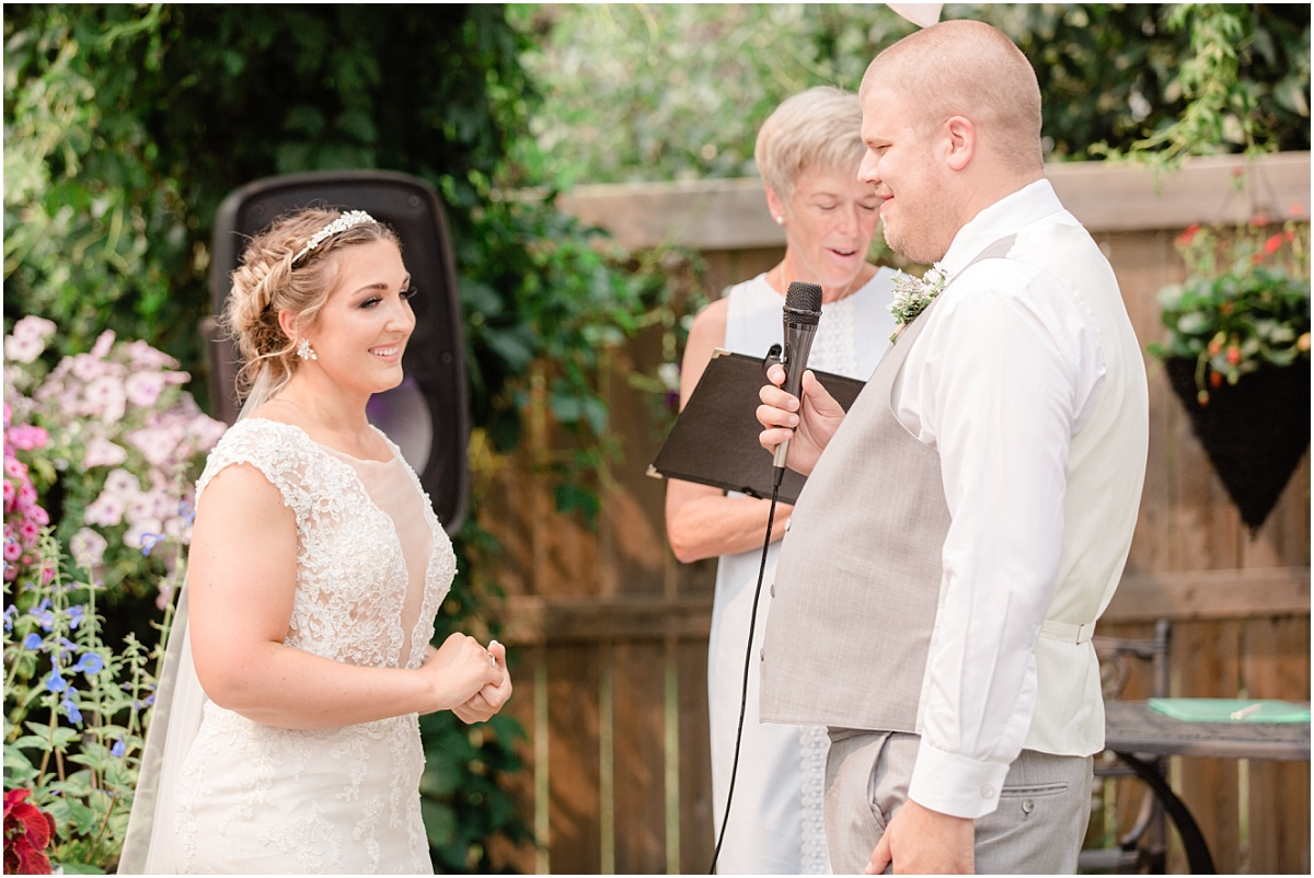 groom speech backyard wedding light and airy ceremony photos