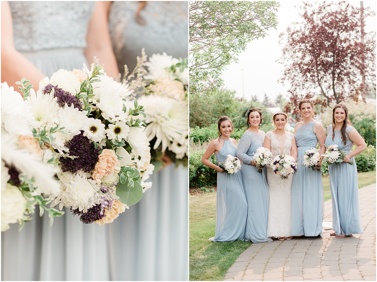 callia flowers with dusty blue bridesmaids dresses light and airy summer style wedding