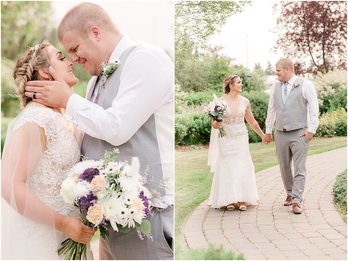 bride and groom wedding photos at garden center in sheerwood park with light and airy wedding photographer in the summer