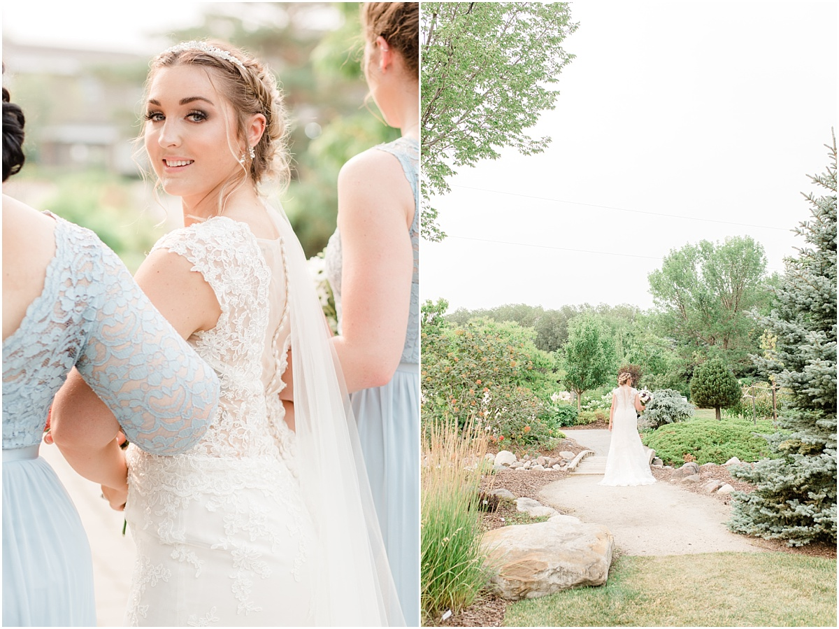 beautiful lace dress happy bride at the garden center in sheerwood park