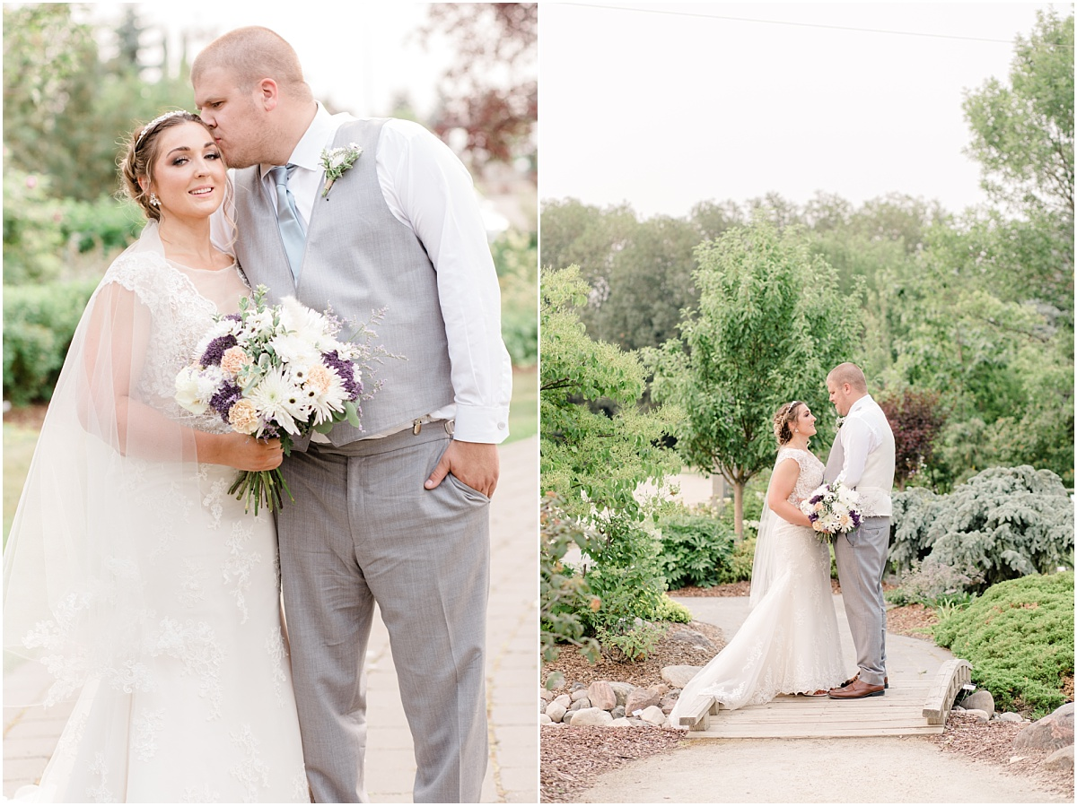 bride and groom photos on the bridge at the sheerwood park garden center groom kissing bride
