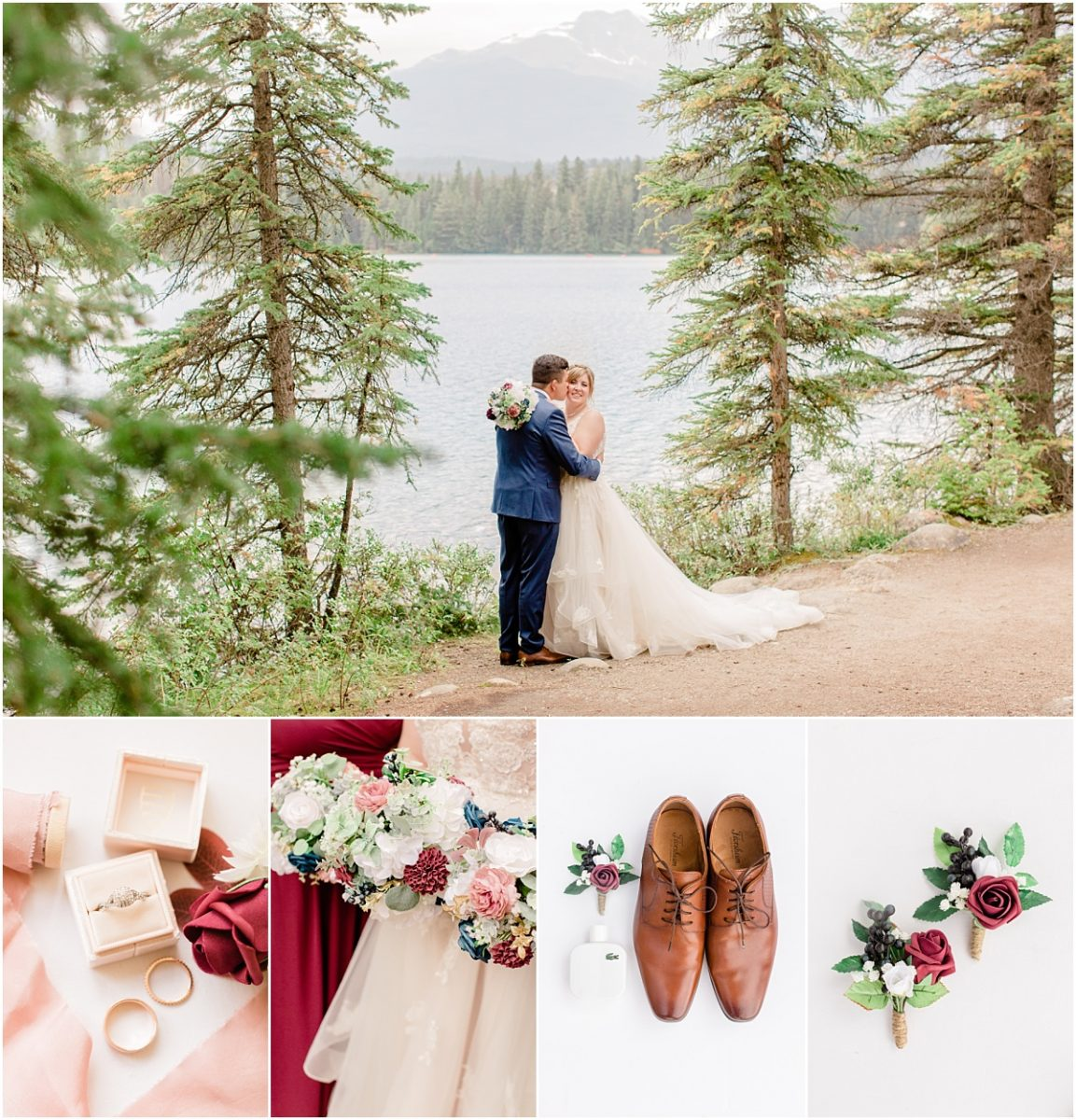 jasper park lodge fairmont jasper wedding venue beautiful special day with randy and ashton wedding colors navy and burgundy small mirco intimate wedding day with light and airy Alberta wedding photographer