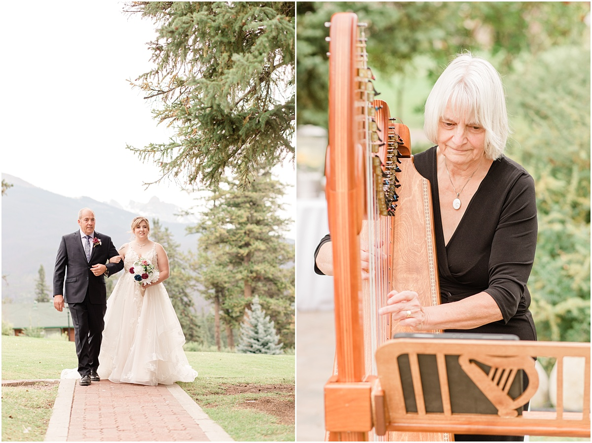 jasper fairmont park lodge wedding ceremony intimate on the sundeck for randy and ashtons wedding day walking down the aisle with dad while the harp is being played