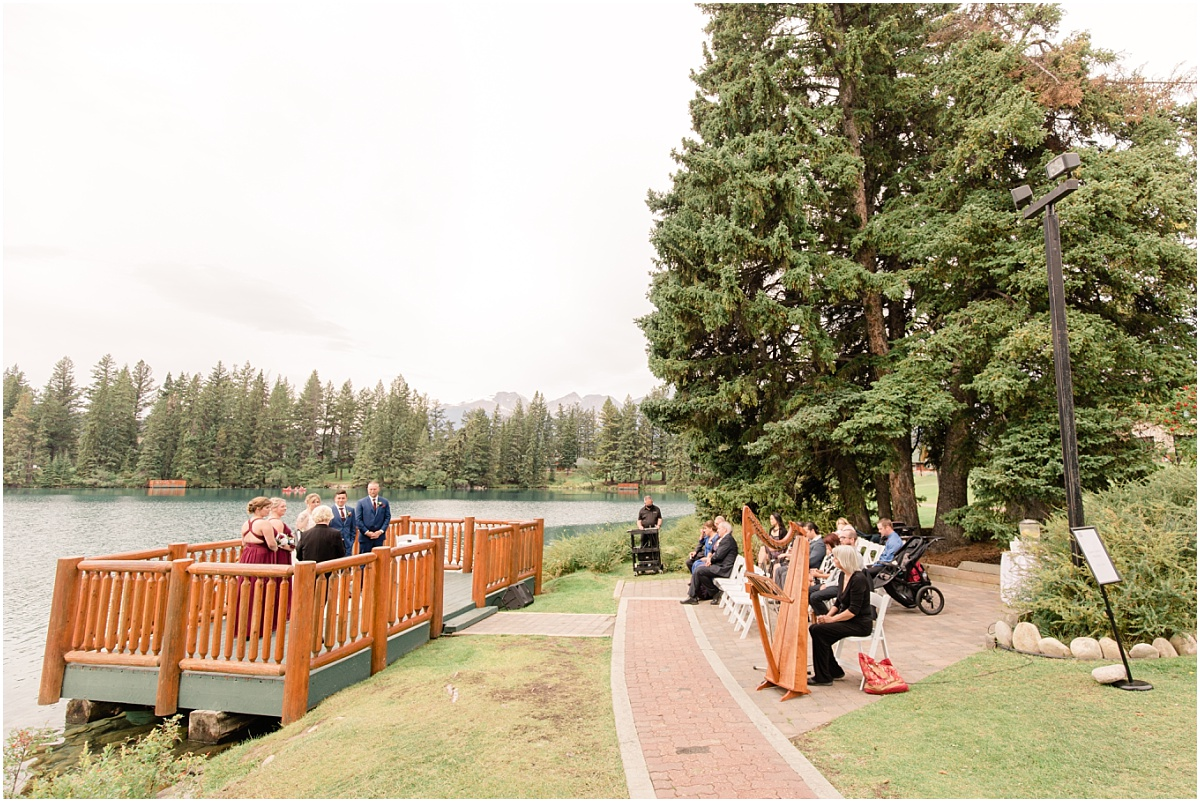 jasper wedding venue at the park lodge fairmont for randy and ashtons wedding very small ceremony sundeck view with their closest family and friends playing the harp
