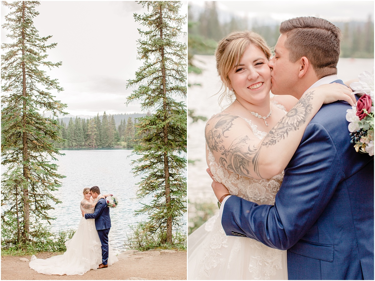 jasper fairmont light and airy wedding photos in the spruce trees with mountain lake views with randy and ashton happy wedding couple for photos