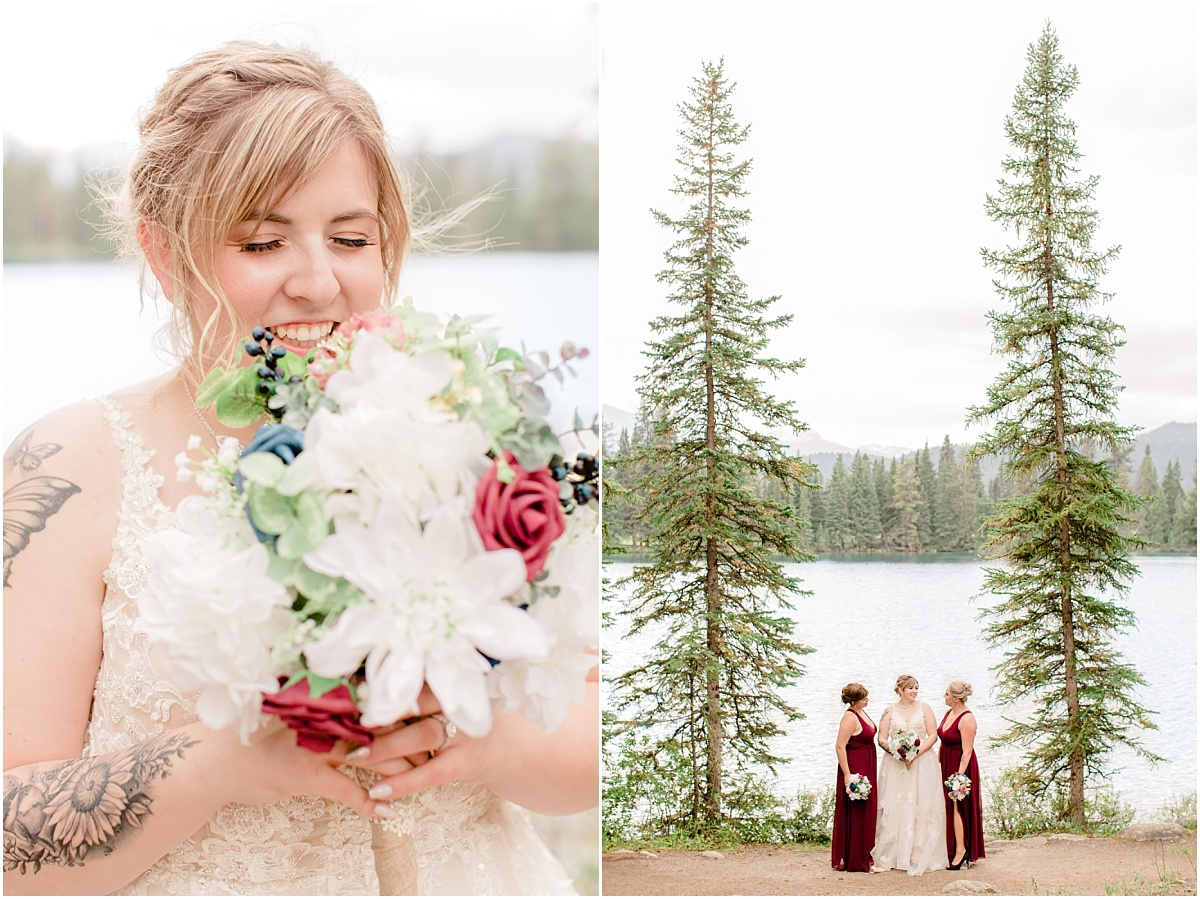 bride smelling the silk bridal bouquet and bridal party photos in front of the lac beauvert in jasper with bridesmaids