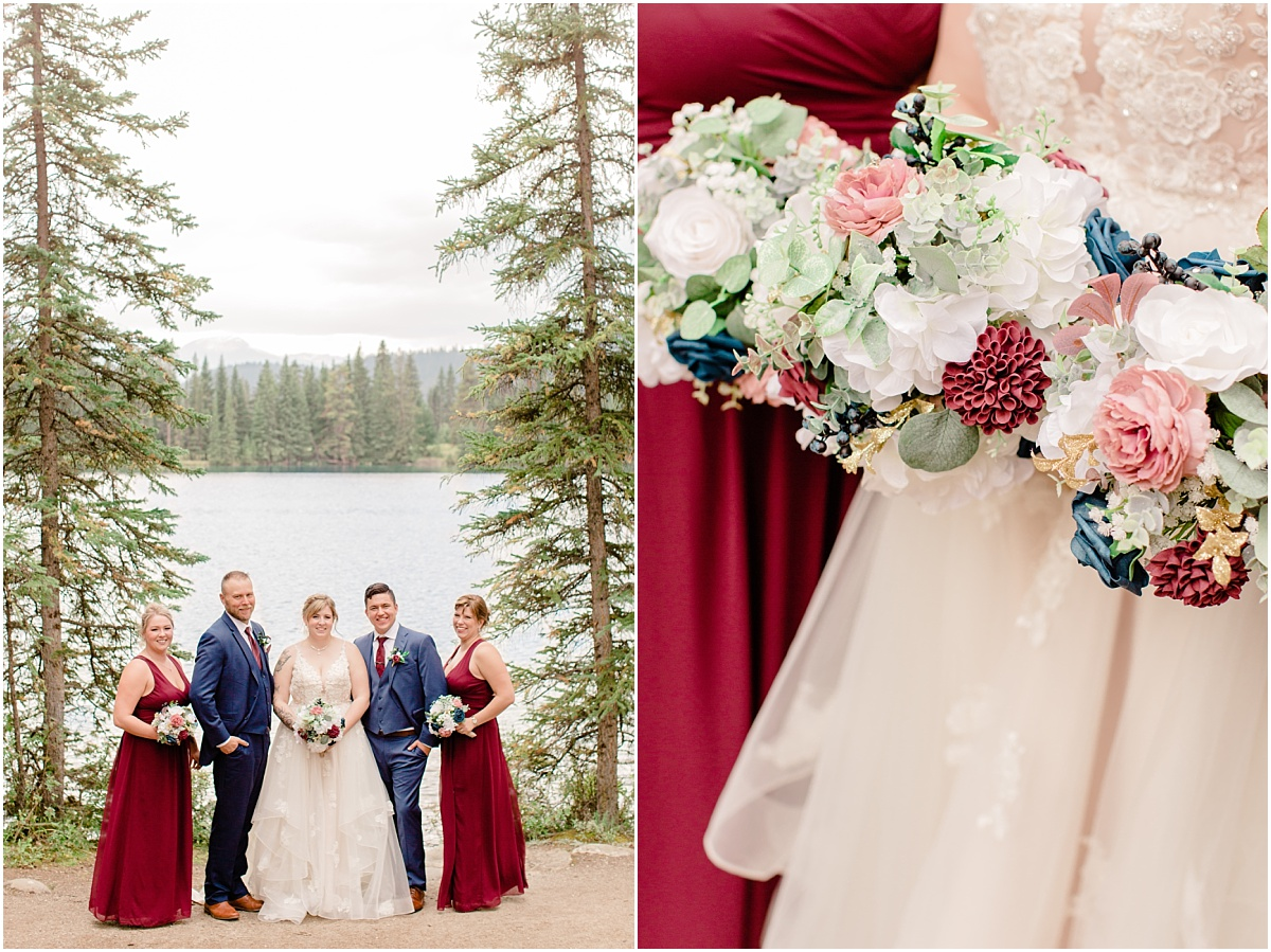 silk wedding bouquet with blush and burgundy colors for their intimate mountain wedding bridal party photos with colors in front of the mountains