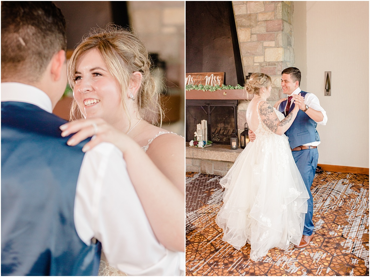 jasper wedding first dance during reception photographer capturing very candid and joyful moment inside the jasper park lodge fairmont wedding venue in the mountains